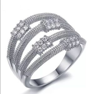 Jewelry - 🆕18k White Gold Dipped 36 AAA CZ Ring Size 5.5